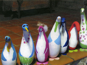 Painted Penguin Gourds